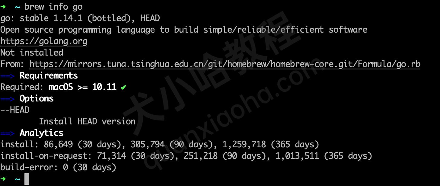 Mac系统brew查看go语言版本