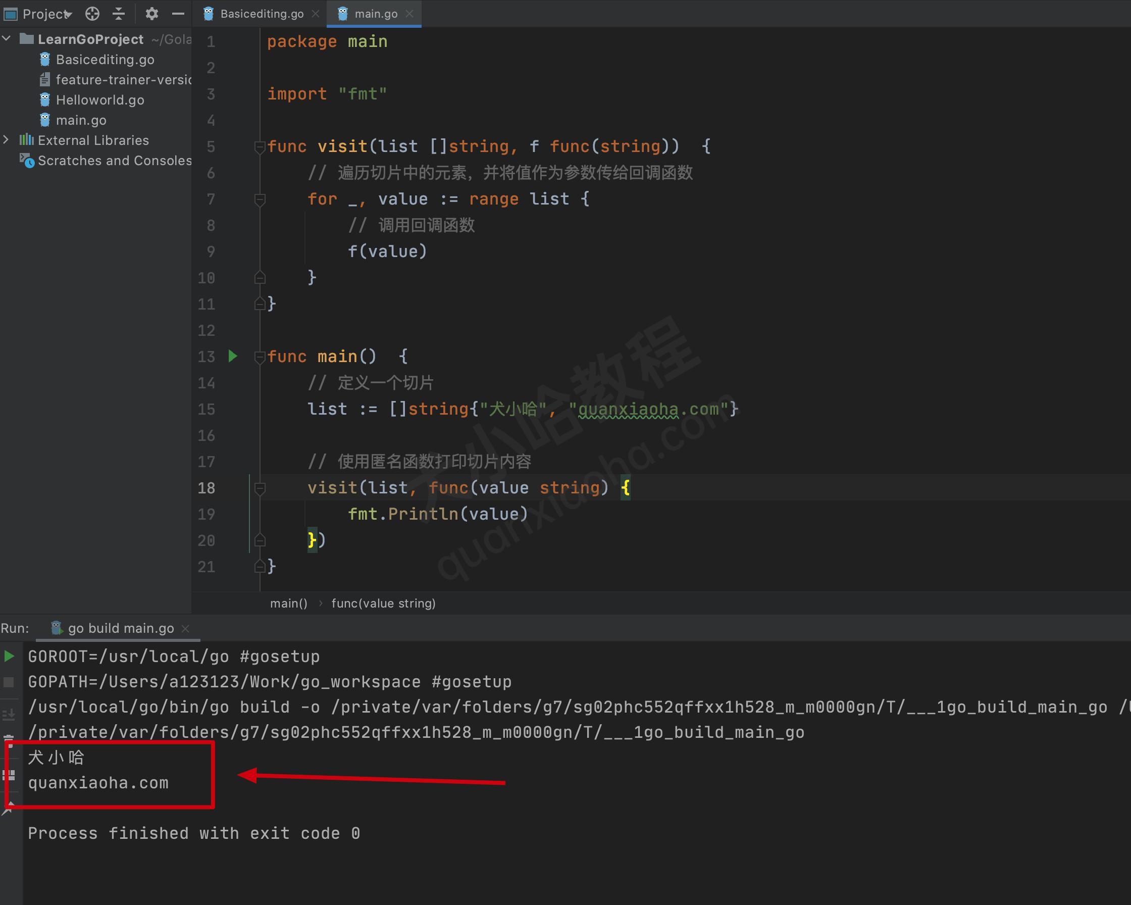 go语言回调函数代码示例